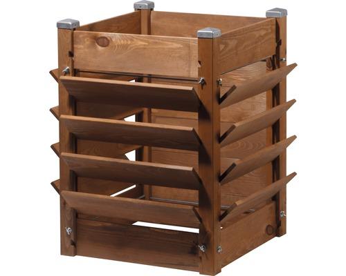Composteur, jardinière surélevée 3 en 1 avec film pour plantes 53,5 x 53,5 x 75,5 cm marron