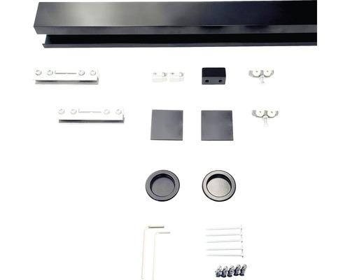 Schiebetürbeschlag-Set Pertura Selir Aluminium schwarz für Ganzglasschiebetür 920 mm