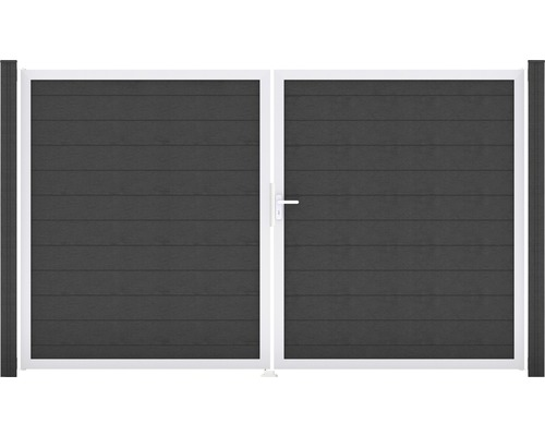 Portail double Flex 300x180 cm gauche, anthracite, cadre en argent