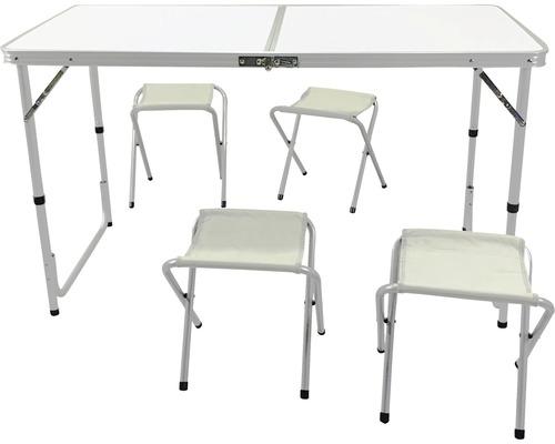 Set de camping avec table pliante et 4 tabourets pliants 4 places 5 pces. blanc