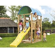Spielturm Jungle Gym Farm Holz mit Sandkasten, Kletterwand, Rutsche gelb