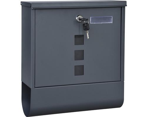 Boîte aux lettres tôle d''acier revêtu par poudre inoxydable lxhxp 305/96/335 mm anthracite avec clapet + boîte à journaux + étiquette de nom