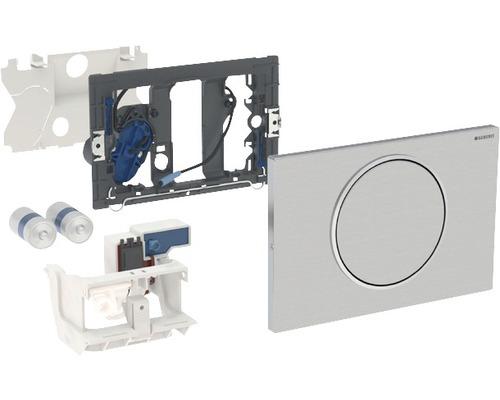 Plaque de commande GEBERIT Sigma 10 commande de WC avec actionnement électronique alimenté par pile de chasse d''eau simple chasse pour barre de relevage avec émetteur radio acier inoxydable 115.869.SN.5