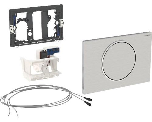 Plaque de commande GEBERIT Sigma 10 commande de WC avec actionnement électronique de chasse d''eau fonctionnement sur secteur simple chasse par barre de relevage manuelle acier inoxydable 115.863.SN.5