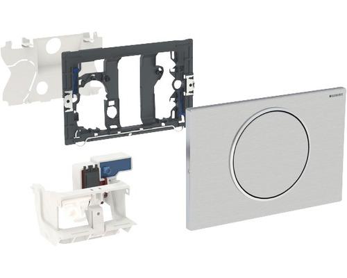 Plaque de commande GEBERIT Sigma 10 commande de WC avec actionnement électronique de chasse d''eau, fonctionnement sur secteur, simple chasse par barre de relevage avec émetteur radio acier inoxydable 115.867.SN.5