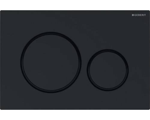 Plaque de commande GEBERIT Sigma 20 noir ultra brillant, avec décors contrastés noir mat 115.882.DW.1
