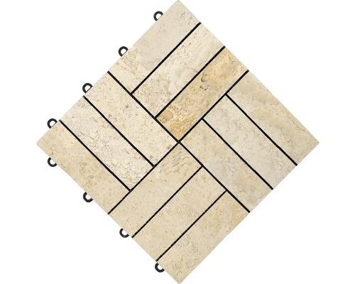 Dalle à clipser florco®stone 30 x 30 x 2,8 cm travertin