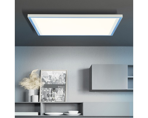 Panneau LED CCT RGB à intensité lumineuse variable 38W 3830lm 2700-6500K blanc chaud - blanc lumière du jour hxlxp 50x600x600mm avec télécommande Lanette blanc