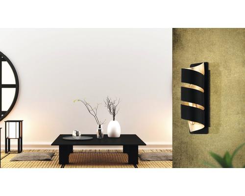 Applique murale métal 1 lumière hxL 270x80 mm Elizondo doré/noir