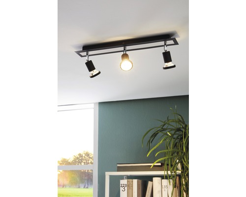 Spot de plafond LED acier 5W 400 lm 3000 K blanc chaud 38° lxL 70x460 mm Sarria noir/chrome