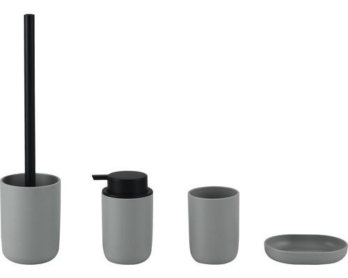 Kit de bain en plastique 4 pièces gris/noir