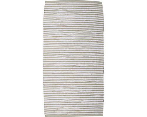 Tapis de chiffon en coton Stripes rayures beige-crème 65x130 cm