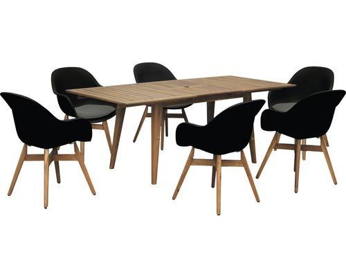 Ensemble de meubles de jardin Garden Place Style 6 sièges 7 pces avec table en bois extractible acacia et galette de chaise