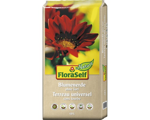 Terreau pour fleurs FloraSelf Nature sans tourbe 40L