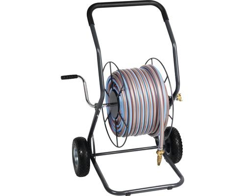 """Dévidoir en métal for_q profi_line FQ-MSW 50 BIG avec tuyau d''arrosage 50m, lance en métal et flexible de raccordement 1,5m, débit réel 3/4"""""""