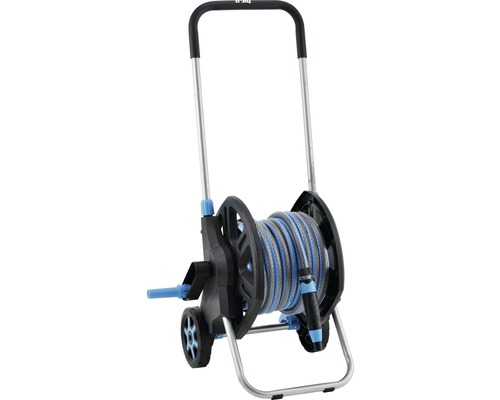 """Dévidoir plastique for_q FQ-KSW 20 avec poignée ergonomique Soft et système de freinage, avec tuyau d''arrosage confort 20m 1/2"""", pièces système et pistolet réglable en continu"""