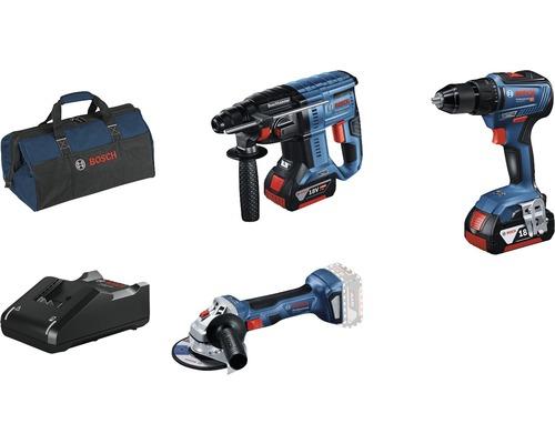 Kit professionnel 18V Bosch Professional perceuse-visseuse sans fil GSR 18V-55 + marteau perforateur sans fil GBH 18V-21 + meuleuse d''angle sans fil GWS 18V-7 avec 2x batteries (4.0Ah), chargeur GAL 18V-40 et sac