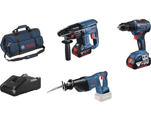 Kit professionnel 18V Bosch Professional perceuse-visseuse sans fil GSR 18V-55 + marteau perforateur sans fil GBH 18V-21 + scie sabre sans fil GSA 18 V-LI avec 2x batteries (4.0Ah), chargeur GAL 18V-40 et sac