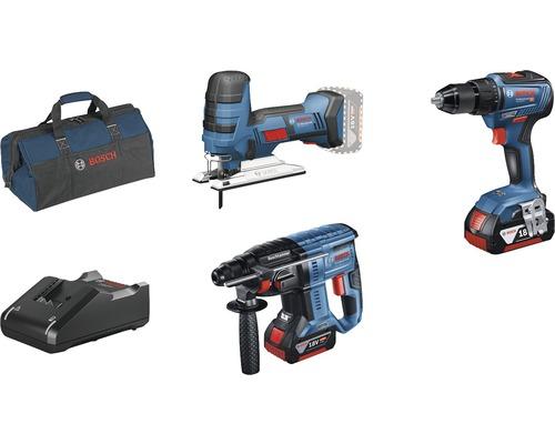 Kit professionnel 18V Bosch Professional perceuse-visseuse sans fil GSR 18V-55 + marteau perforateur sans fil GBH 18V-21 + scie sauteuse sans fil GST 18 V-LI S avec 2x batteries (4.0Ah), chargeur GAL 18V-40 et sac