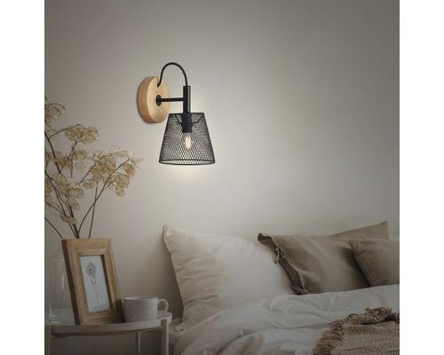 Applique murale bois-métal à 1 ampoule Taunus noir Ø 125 mm