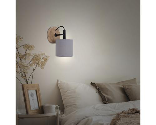 Applique murale bois-textile 1 ampoule Rohn marron/gris Ø 125 mm