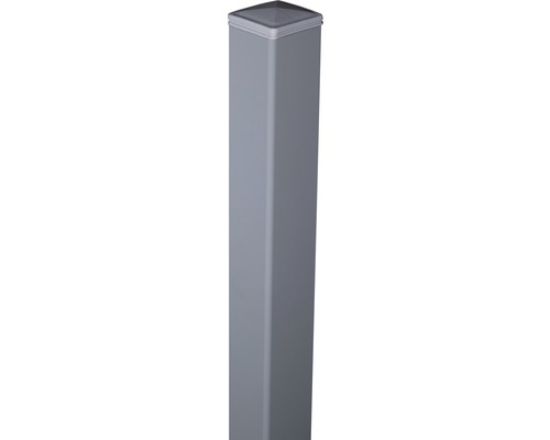 Alutorpfosten mit Kappe Novara/Belfort zA 6x6x240 cm, silbergrau
