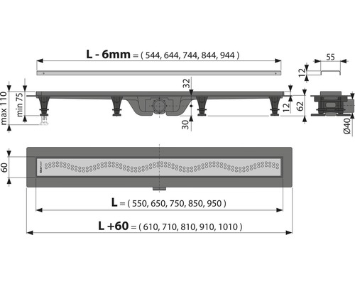 Duschrinne APZ8-650M inkl. Edelstahlrost 650 mm