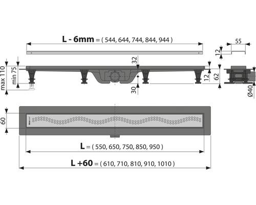 Duschrinne APZ8-750M inkl. Edelstahlrost 750 mm