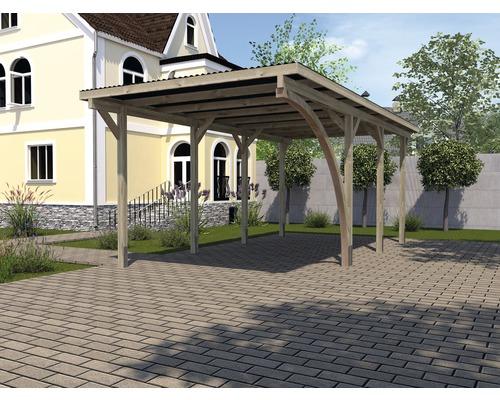 Carport simple weka 606 A taille 2 avec arche de passage 300 x 600 cm traité en autoclave par imprégnation