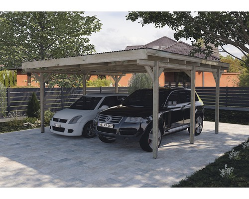 Carport double weka 616 500 x 500 cm traité en autoclave par imprégnation