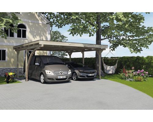 Carport double weka 616 A avec arche de passage 500 x 500 cm traité en autoclave par imprégnation