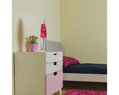 Lampe à lave Lollipop alu/rosa avec ampoule H 420 mm