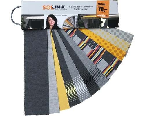 Évantail d'échantillons de tissus à emprunter Soluna Trend