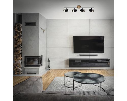 Spot de plafond bois-métal 4 ampoules hxLxl 145x682x90mm Muritz noir