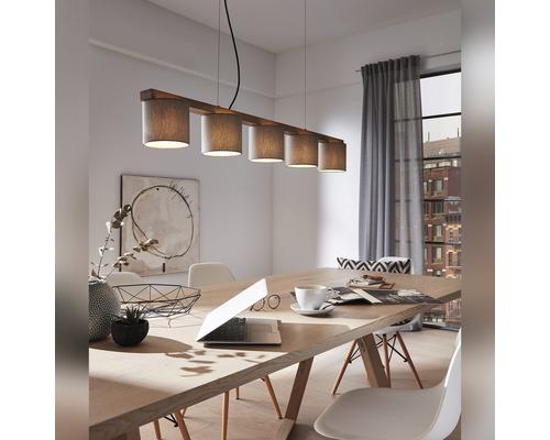 Suspension bois-textile 5 ampoules Rohn marron/gris hxLxl 1360x1100x150 mm