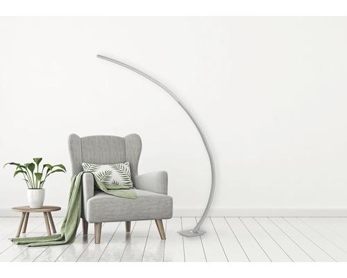 Lampe courbée LED alu/brossé 18W 1950 lm 3000 K blanc chaud H 1883 mm