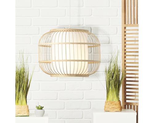 Suspension métal-bambou 1 ampoule hxØ 1500x400 mm Bones naturel/blanc