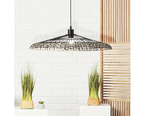Suspension métal-bambou 1 ampoule hxØ 1200x600 mm Fixi noir/naturel