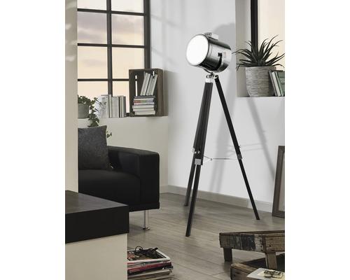 Lampadaire bois/métal à 1 ampoule hxØ 1500x700 mm Upstreet noir/chrome