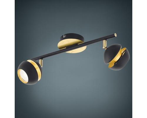 Spot de plafond LED Nocito noir/or 2x 3,3W 2x 240 lm 3000 K blanc chaud L 360 mm