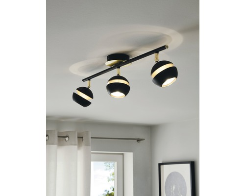 Spot de plafond LED Nocito noir/or 3x 3,3W 3x 240 lm 3000 K blanc chaud L 585 mm