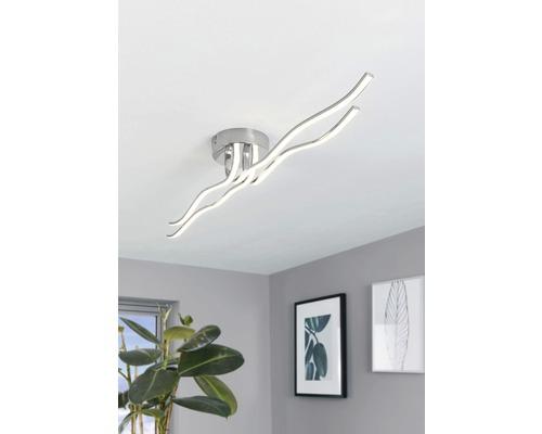 Plafonnier LED acier-plastique 40W 3600 lm 3000 K blanc chaud hxlxL 75x180x1160 mm Roncade chrome/blanc