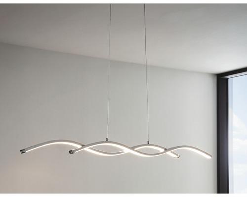 Suspension LED acier/plastique 14W 1900 lm 3000 K blanc chaud hxL 1200x1200 mm Lasana chrome/blanc