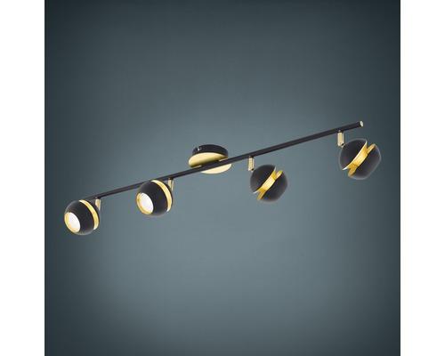 Spot de plafond LED Nocito noir/or 4x 3,3W 4x 240 lm 3000 K blanc chaud L 760 mm