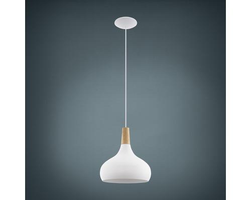 Suspension acier 1 lumière hxØ 1100x280 mm Sabinar blanc/bois clair
