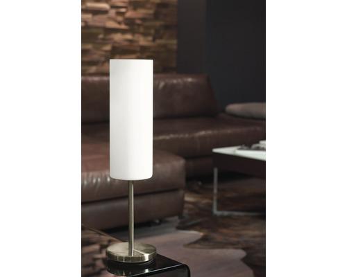 Lampe de table acier/verre 1ampoule hxØ 460x105 mm Troy blanc laqué/nickel-mat
