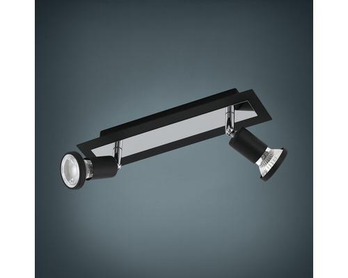 Spot de plafond LED acier 5W 400 lm 3000 K blanc chaud 38° lxL 70x300 mm Sarria noir/chrome