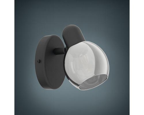 Spot patère acier/verre 1 ampoule hxL 105x65 mm Pollica noir/transparent-0