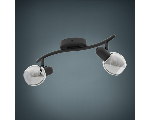 Spot de plafond acier/verre 2 ampoules hxL 165x365 mm Pollica noir/transparent