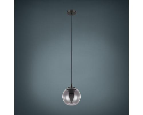 Suspension acier/verre 1 lumière hxØ 1100x200 mm Ariscani noir/transparent